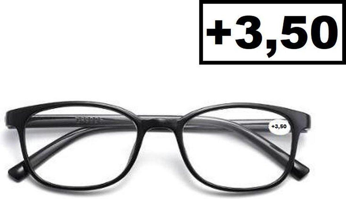Cosy @ Home Leesbril Zwart +3.50 - Dames - Heren - Leesbrillen - Trendy - Lees bril - Leesbril met s