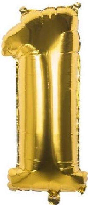 1 Jaar Folie Ballonnen Goud - Happy Birthday - Foil Balloon - Versiering - Verjaardag - Jongen / Meisje - Feest - Inclusief Opblaas Stokje & Clip - XXL - 115 cm