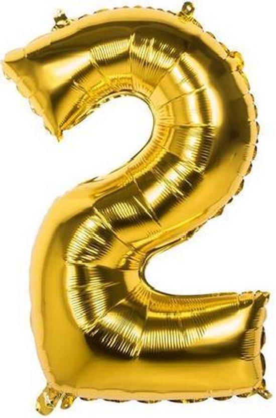 2 Jaar Folie Ballonnen Goud - Happy Birthday - Foil Balloon - Versiering - Verjaardag - Jongen / Meisje - Feest - Inclusief Opblaas Stokje & Clip - XXL - 115 cm