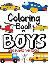 Coloring Book For Boys, Cars, Planes and Trucks
