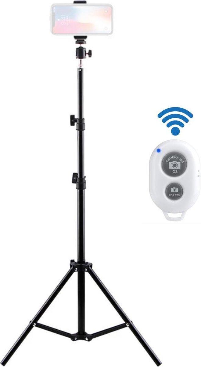 Statief smartphone en camera met telefoonhouder / statief telefoon en camera - 2 meter hoog - inclus