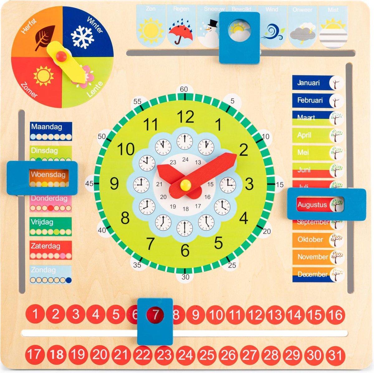 New Classic Toys Houten Kalenderklok - Leer Klokkijken - Weet jij welke dag het is? Hoe laat is het?