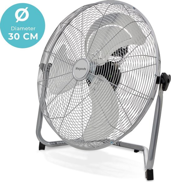 LifeGoods ⌀30cm Vloer Ventilator - LG1058 - 50 Watt - 180° Kantelbaar - 3 Snelheden - Aluminium Bladen - Chroom/Zilver