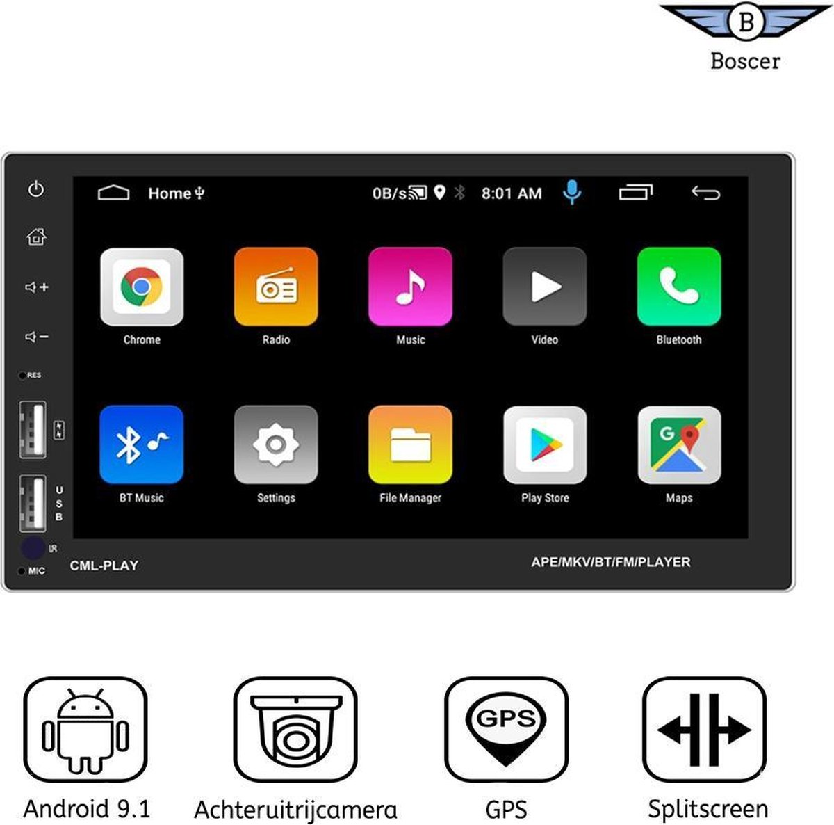 Boscer® Autoradio   Android 9.1   2Din universeel   Navigatiesysteem   Splitscreen   7' HD scherm   Achteruitrijcamera