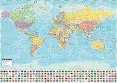Wereldkaart 50 x 70cm poster - luxe stevig papier