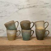 Siaki Strand servies, set van 6 aardewerken bekers met reactief glazuur in strandtinten