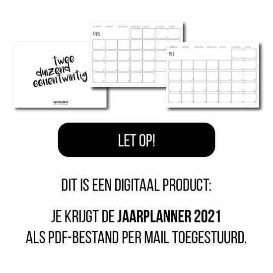 Jaarplanner 2021 [DIGITAAL PRODUCT] - Formaat A3 - Familieplanner 2021 - Gezinsplanner 2021 - Planner 2021 - Kalender 2021