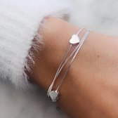 MAT Accessoires - Love III - Hartjes armband - 925-Zilver - 16-22 cm