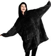 JAXY TV Deken - Hoodie Deken - Hoodie Blanket - Deken Met Mouwen - Oversized Hoodie - Oodie - Fleece Deken - Sherpa - Indoor/Outdoor Coat - Zwart