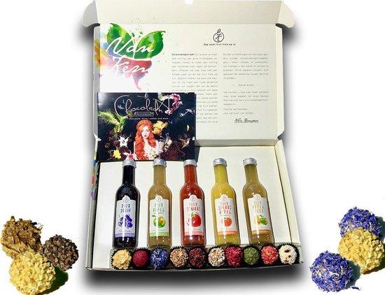 Topcadeau pakket: Van kempen biologische vruchtensappen in luxe geschenkverpakking met chocolade fruit truffels. Ideaal cadeau voor verjaardag beterschap moeder vader gezondheid