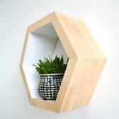 Bnature | Houten hexagon / zeshoek wandplank voor aan muur of losstaand | duurzaam hout | afmeting 26*20*10cm | licht eiken