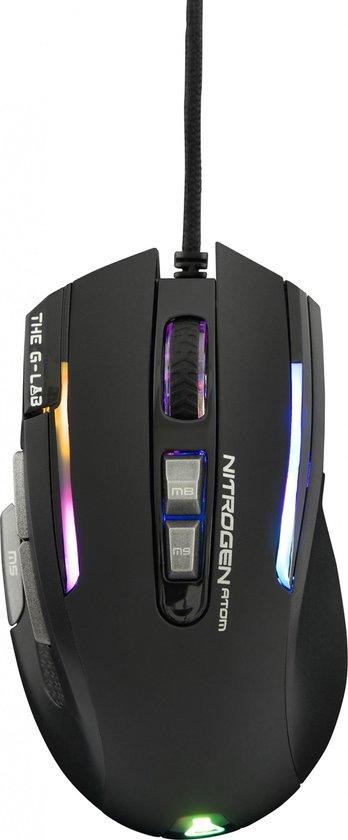 The G-Lab Kult Nitrogen Atom RGB Gaming Muis - 4800 DPI - Software - Zwart