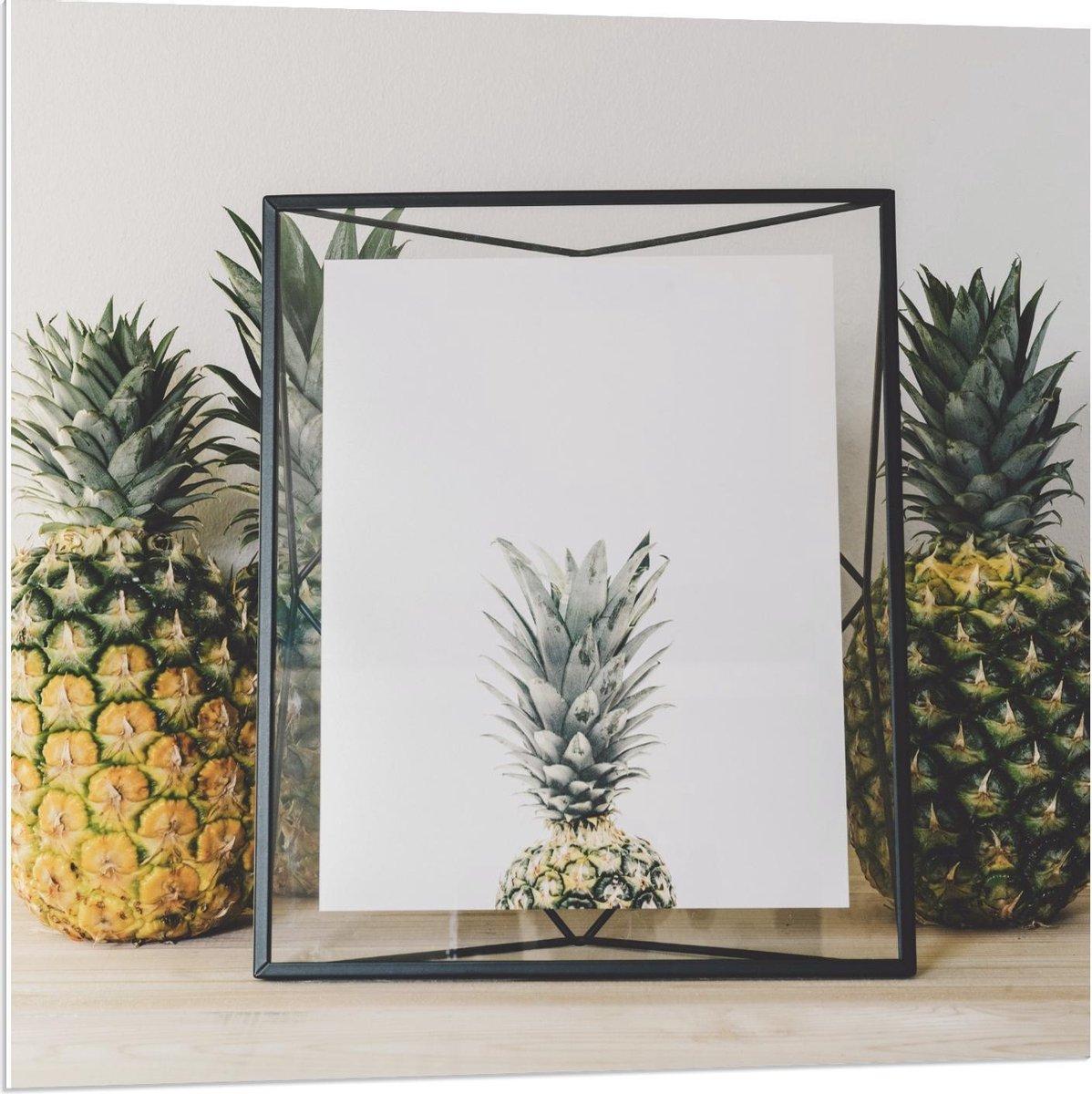 Forex - Ananas Ingelijst  - 80x80cm Foto op Forex