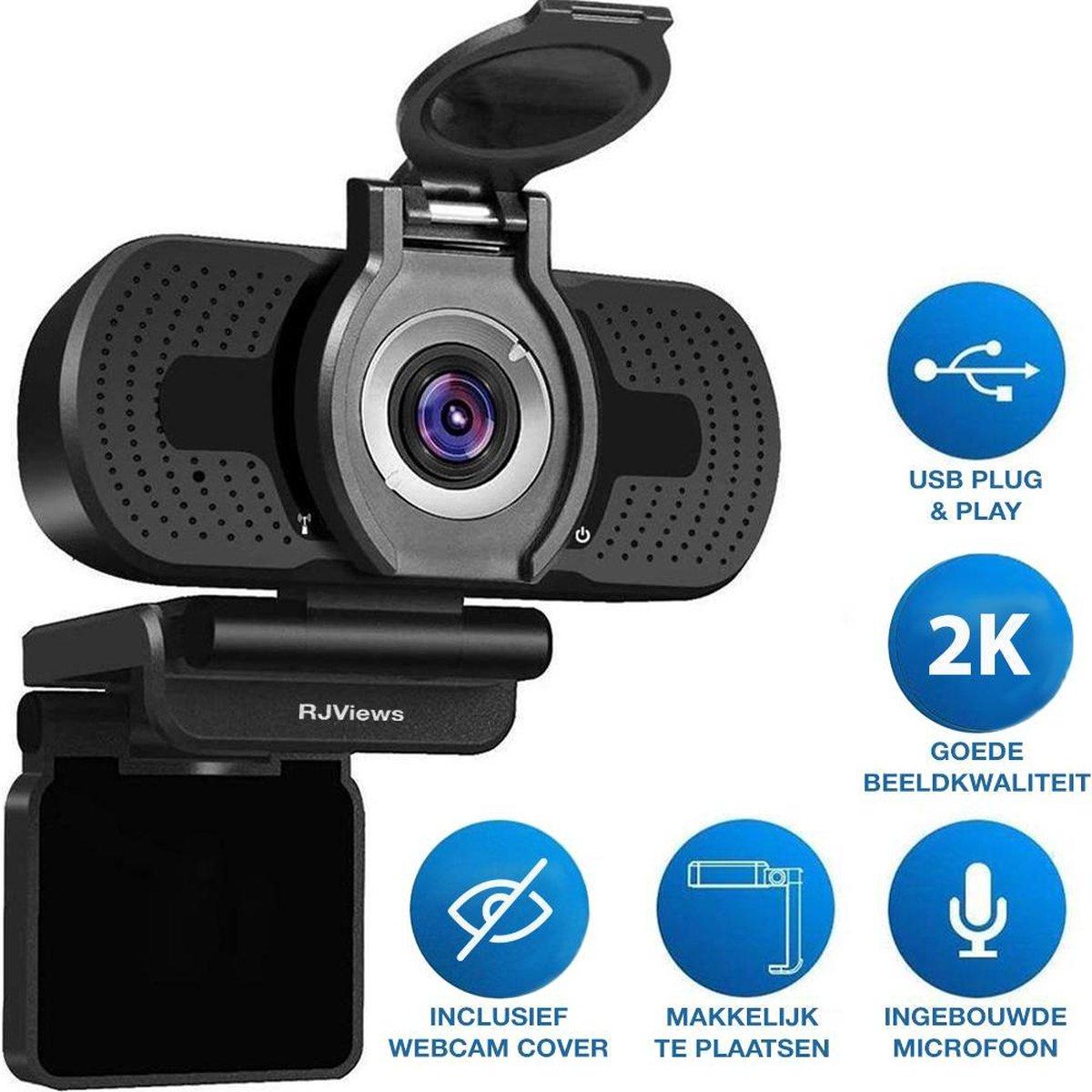 RJ Views Webcam 2k 4MP voor PC - Ingebouwde Microfoon & Webcam Cover - Werk & Thuis - USB-Plug&Play - Zwart - Voor Windows & Mac - Webcam voor vergaderingen -
