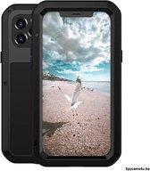LOVE MEI Metal ultra-dun Waterdicht Stofdicht Shockproof beschermings hoesje voor iPhone 12 Pro (zwart)