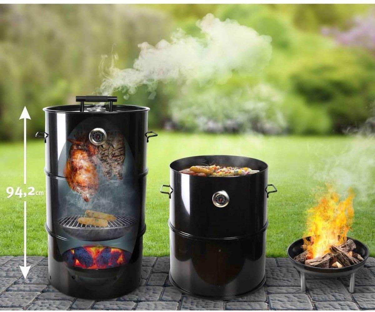 Esschert Design BBQ en Rookton / Rookoven - 3 in 1 : Barbecue-Smoker-Vuurschaal - Uitvoering Large