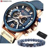 Horloges voor Mannen Heren Horloge Curren Herenhorloge Watch - Jongens Horloges - Incl. Horlogebox Geschenkdoos & Armband - Blauw Rosé - Litts®
