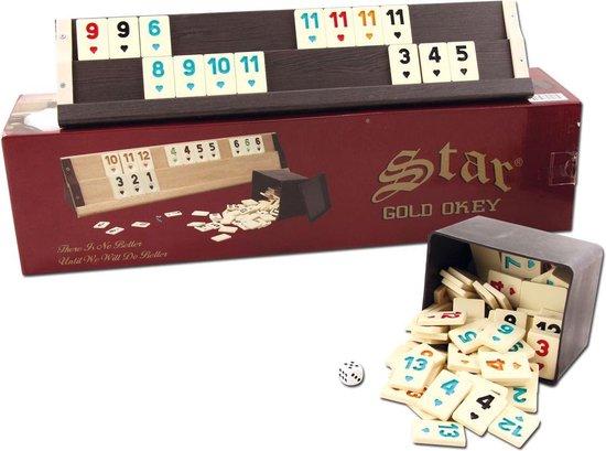 Thumbnail van een extra afbeelding van het spel Star Gold Okey Rummy set Hout
