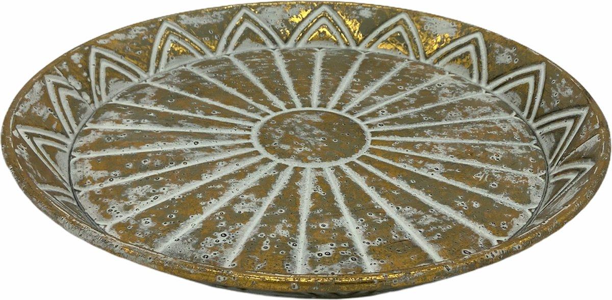 Tafel Decoratie Ronden Dienblad van Metaal Decoratie Schaal van Goud online kopen