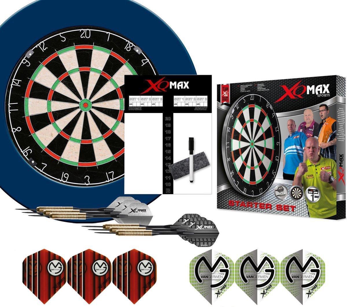 XQ-MAX Michael van Gerwen complete starter set - dartbord - accessoires - surround ring blauw