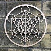 De kubus van Metatron, the cube of Metatron 59 cm wanddecoratie berken fineer 3 mm