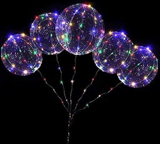 5 stuks verlichte LED Ballon  - multicolor - 40 cm - verlichte ballon met lampjes
