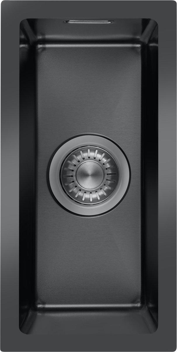 LOMAZOO Spoelbak Zwart / Antraciet (18x40) - Spoelbak Keuken - Spoelbakken Keuken - Wasbak Keuken - RVS [BELNEM]