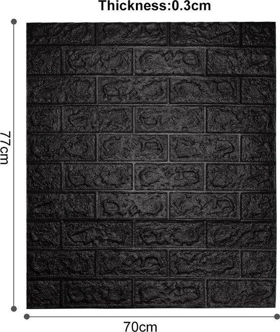 3D muurstickers - Zelfklevende stenen muur behang - decoratieve tegelstickers - Zwart stenen stickerbehang - makkelijk aan te brengen & schoon te maken - waterbestendig & geluidsdempend -