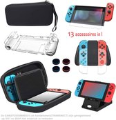 Switch Case - Accessoireset voor Nintendo Switch - 13 in 1 Case - Screenprotector, Joy-Con Controller Case, Thumb Grip Caps, Verstelbare standaard, Portable Strap - Hard Cover - Zwart