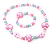Kindersetje kralenketting en armband voor meisjes met aapjes roze