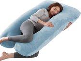 Litollo® Zwangerschapskussen XXL - Voedingskussen - Lichaamskussen - 280cm - Zachte fleece stof - Body pillow - Afneembare hoes - Blauw