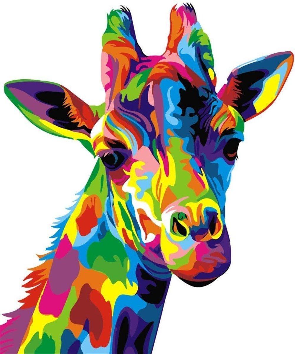Rubye® Schilderen Op Nummer Volwassenen - Kleurrijke Giraffe - Met Frame en Standaard - 40x50 cm