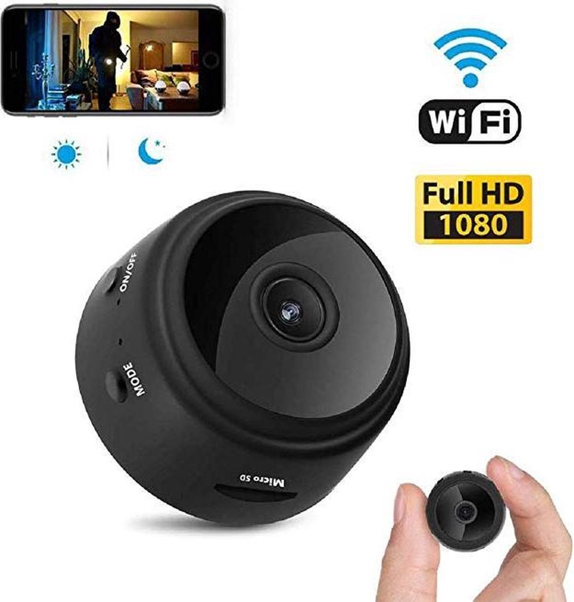 Camera   mini camera   beveiligingscamera   verborgen camera   wifi spy camera   1080P incl. SD kaar