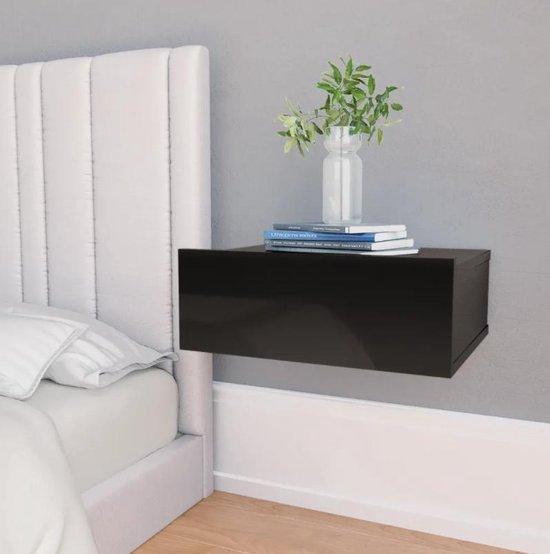 nachtkastjes set van 2 - hoogglans zwart - zwevend - industrieel - hout - modern - L&B Luxurys