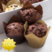 The Original HSXL - Muffin Tulp Vormpjes Papier - Cupcake Tulpen - 100 Stuks - Licht en Donkerbruin - Muffin Papiertjes