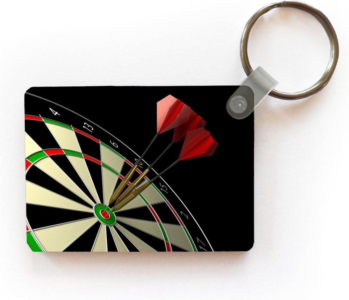Sleutelhanger Darten - Twee pijlen in de roos sleutelhanger plastic - rechthoekige sleutelhanger met foto