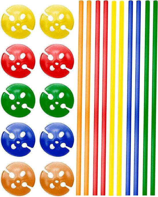 Meerkleurige Ballonstokjes met Houders - 10 stuks