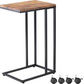 Casaria Bijzettafel met wieltjes - 40x30x65 cm – zwart frame hout – bank, sofa, bed