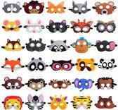 Fissaly® 30 Stuks Dieren Jungle Maskers voor Kinderfeest & Verkleed Partijen – Safari Kostuum Decoratie - Dierenmaskers