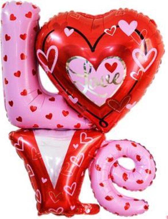 Love ballon XL - 91x81cm - Moederdag cadeautje - Love - Folie ballon - Valentijn - Liefde - Huwelijk - Verassing - Ballonnen - Hart - Helium ballon - Valentijnsdag cadeau