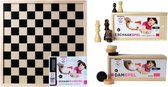 Longfield Houten dam- en schaakbord met stukken
