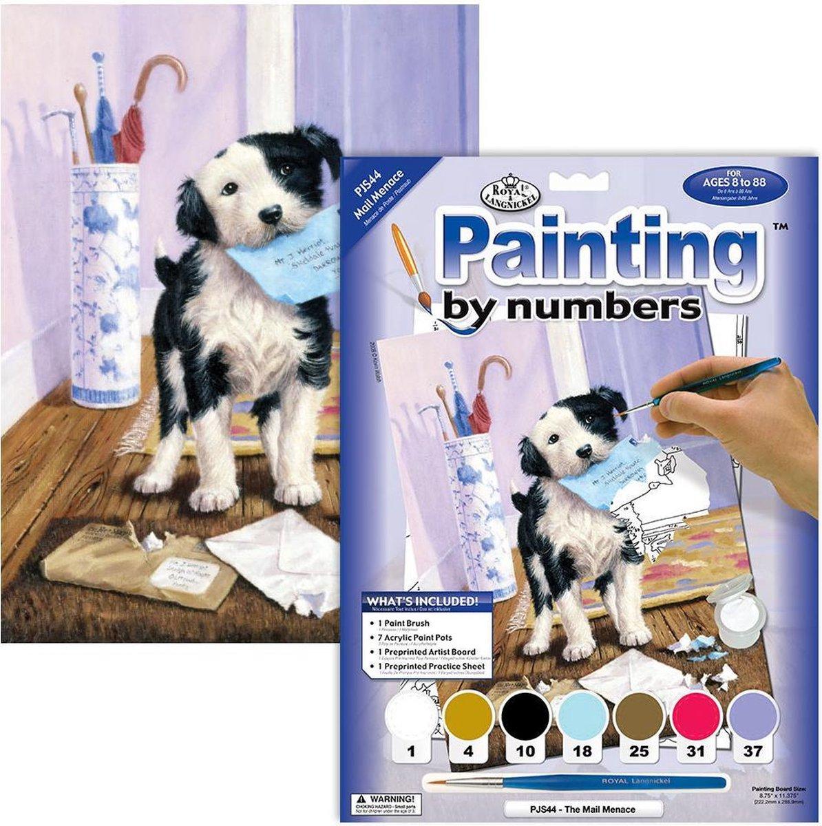 Schilderen op nummer - Paint by numbers - Dieren - Hond verscheurd de post 22x30cm - Schilderen op nummer volwassenen - Paint by numbers volwassenen