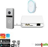Doorsafe 6705 PRO - slimme video deurbel met camera + WiFi chime - gratis opslag op SD-kaart - WiFi of RJ45 - 4 draads