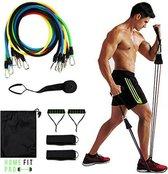 HomeFit Pro® - Fitness Elastiek Set Compleet - Fitness Elastiek met Handvat - Fitnesselastieken Set - Fitness Set - Gewichten tot 45kg - Inclusief Enkel Banden, Handvaten, en Deuranker