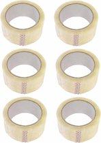 Verpakkings - Dozensluittape, PVC, 48mm, 66m, transparant tape 6 stuks - dik en sterk