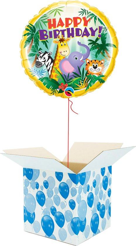 Helium Ballon Verjaardag gevuld met helium - Jungle Dieren - Cadeauverpakking - Happy Birthday - Folieballon - Helium ballonnen verjaardag