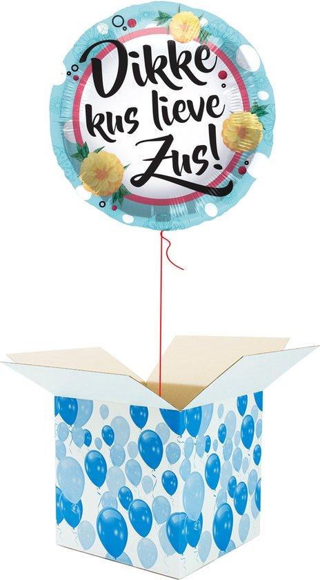 Helium Ballon gevuld met helium - Dikke Kus Lieve Zus! - Cadeauverpakking - Folieballon - Helium ballonnen gevuld
