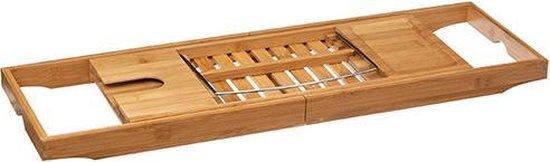Made4Home® - Bamboe badplank   Badrek   uitschuifbaar   Incl. boekhouder/tablethouder   Glashouder   maat 70 tot 105 cm