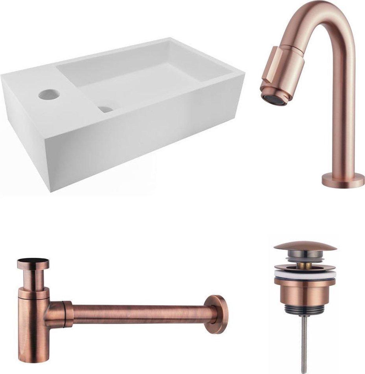 Fonteinset Nila Solid Surface Mat Wit Links 40x22x10cm Toiletkraan Knop Clickwaste Sifon Geborsteld Koper