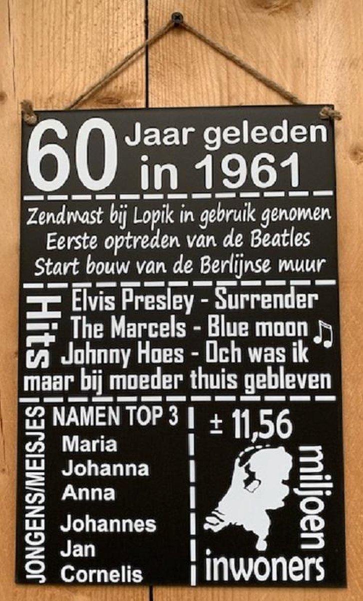 Zinken tekstbord 60 jaar geleden in 1961 - antraciet - 20x30 cm. - verjaardag - jubileum